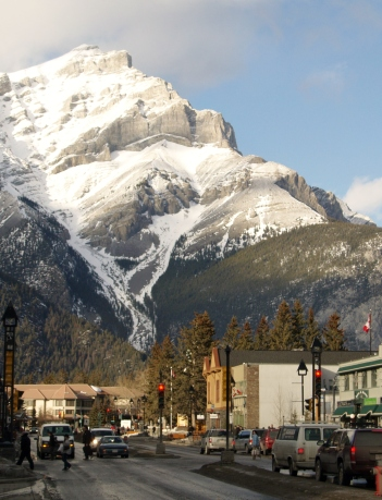 The mountain over the town