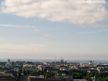 Three church spires above the Helsinki skyline