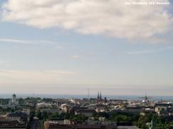 Three church spires above the Helsinki skyline